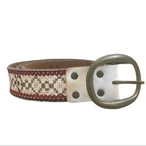Boho Leather Stitched & Studded Brass Buckle Belt